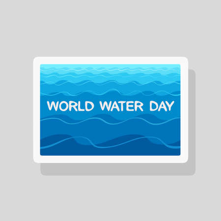 Vector illustration of World Water Day greeting card with stylized waves on blue background