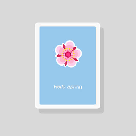 Vector illustration of Hello Spring greeting card with stylized flower on blue background. Minimalist style