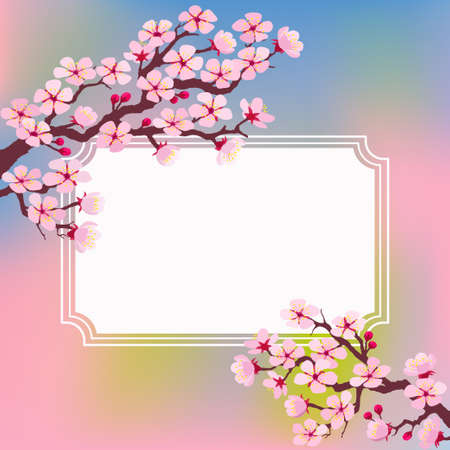 Vector illustration of template greeting card with with frame and blossoming tree branches