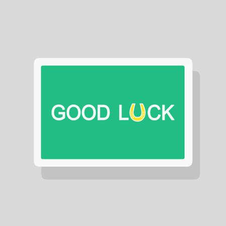 Vector illustration of Good Luck greeting card with stylized horseshoe talisman as letter U. Minimalist style Stock Illustratie