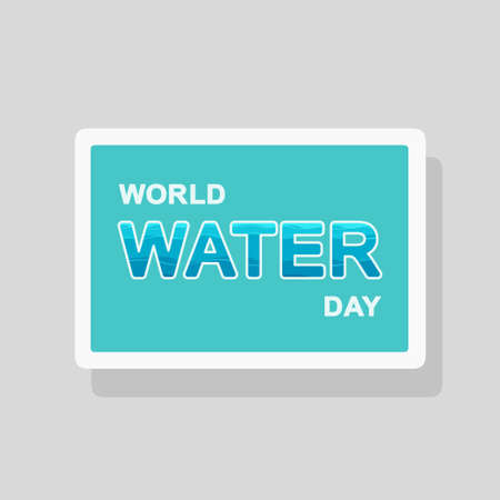 Vector double exposure illustration of World Water Day greeting card with stylized waves forming text silhouette