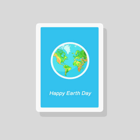 Vector illustration of greeting Earth Day card with the terrestrial globe on blue background