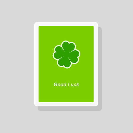 Vector illustration of Good Luck greeting card with stylized four leaf clover on green background. Minimalist style