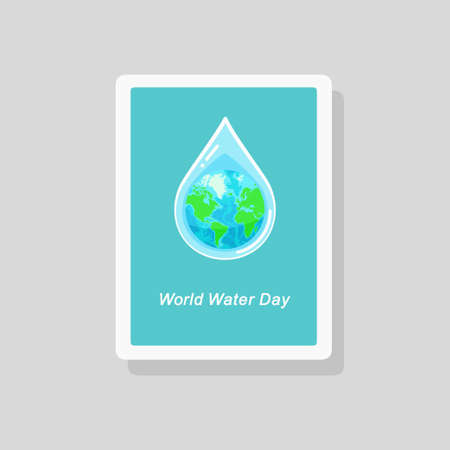 Vector illustration of greeting card with the Earth globe inside water drop on blue background. World Water Day concept