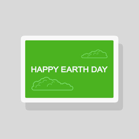 Vector illustration of Earth Day greeting card with stylized foliage on green background. Minimalist style
