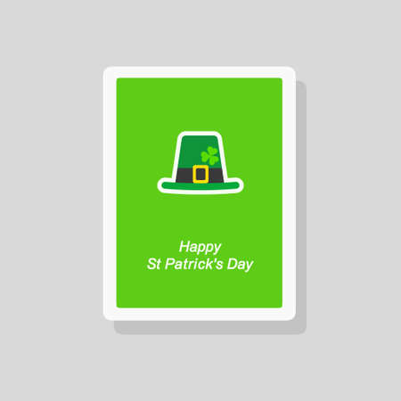 Vector illustration of Saint Patricks Day greeting card with flat stylized green hat Stock Illustratie