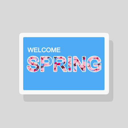 Vector double exposure illustration of Welcome Spring greeting card with flowers forming text silhouette Illustration