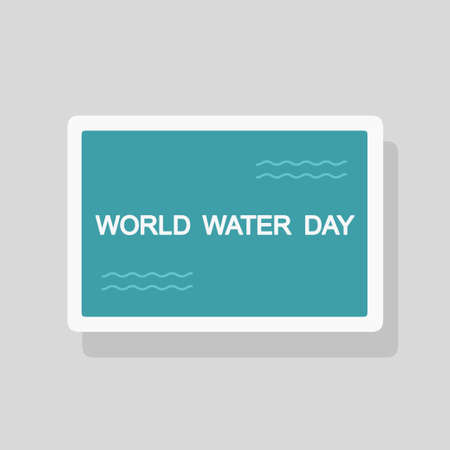 Vector illustration of World Water Day greeting card with stylized waves. Minimalist style Illustration