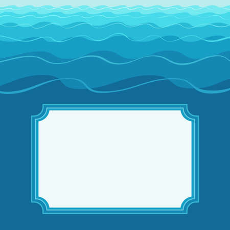 Vector illustration of template greeting card with frame on stylized wavy background