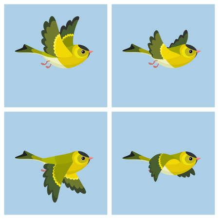 Illustration vectorielle de dessin animé volant feuille de sprite European Tarin (mâle). Peut être utilisé pour l'animation GIF