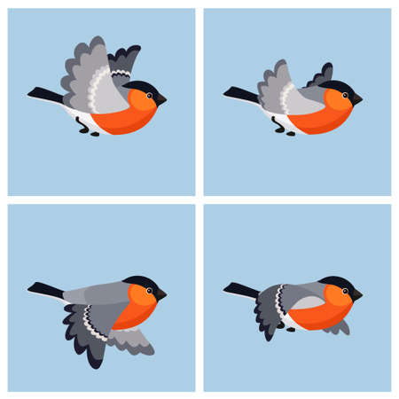 Vector illustration of cartoon flying bullfinch (male) sprite sheet. Can be used for GIF animation