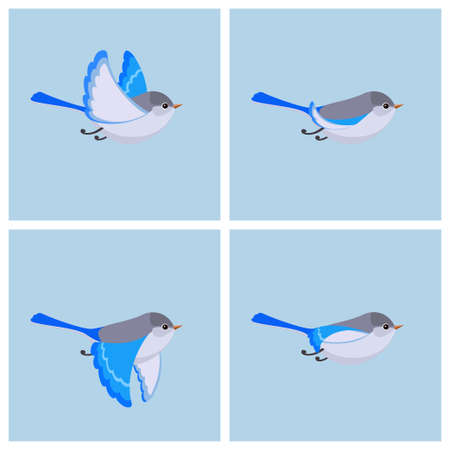 Vector illustration of cartoon flying Splendid Fairy Wren (female) sprite sheet. Can be used for GIF animation Stock fotó - 122955626