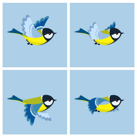 Vector illustration of cartoon flying Great Tit sprite sheet. Can be used for GIF animation Ilustración de vector