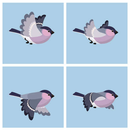 Vector illustration of cartoon flying Bullfinch (female) sprite sheet. Can be used for GIF animation Stock Illustratie