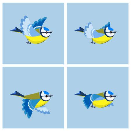 Illustrazione vettoriale di cartone animato foglio di sprite Cinciarella volante. Può essere utilizzato per l'animazione GIF