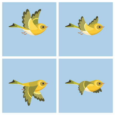 Vector illustration of cartoon flying European Siskin (female) sprite sheet. Can be used for GIF animation