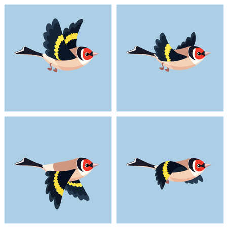 Vector illustration of cartoon flying European Goldfinch sprite sheet. Can be used for GIF animation Stock Illustratie