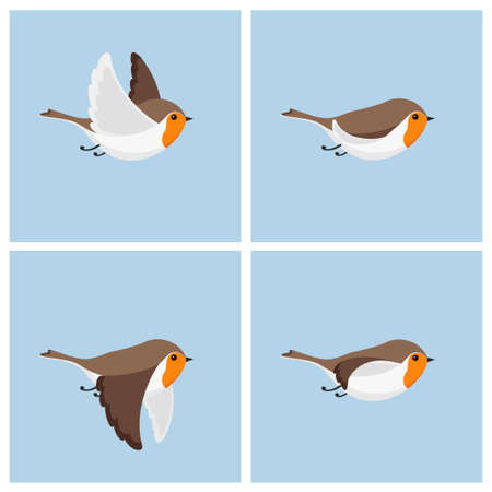 Vector illustration of cartoon flying Robin sprite sheet. Can be used for GIF animation