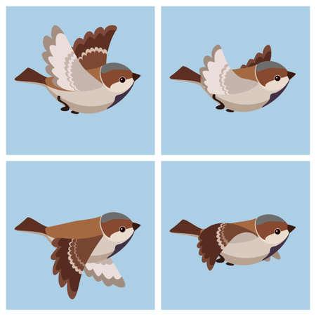 Ilustración de vector de hoja de sprite de gorrión común (macho) volador de dibujos animados. Puede usarse para animación GIF
