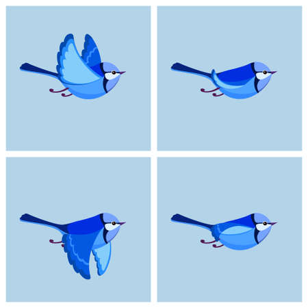 Vector illustration of cartoon flying Splendid Fairy Wren (male) sprite sheet. Can be used for GIF animation