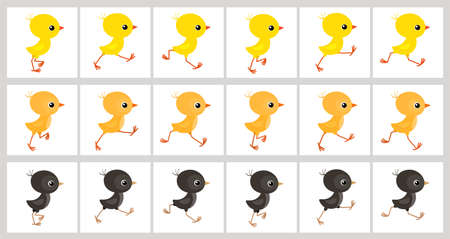 Running colorful chickens sprite sheet isolated on white background. Vector illustration. Can be used for GIF animation Stock Illustratie