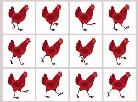 Walking red hen sprite sheet isolated on white background. Vector illustration. Can be used for GIF animation Stockfoto - 122955754
