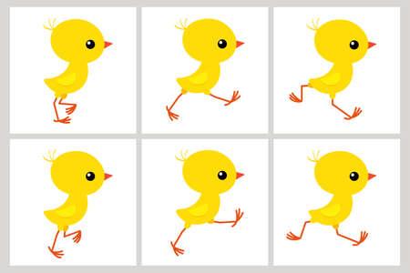 Feuille de sprite de poulet en cours d'exécution isolé sur fond blanc. Illustration vectorielle. Peut être utilisé pour l'animation GIF Vecteurs
