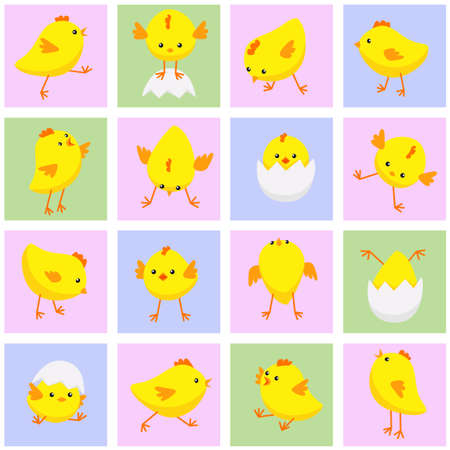 Vector illustration of seamless Eastern pattern with chickens in various poses Ilustração