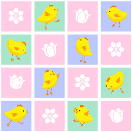 Vector illustration of seamless Eastern pattern with chickens and flowers