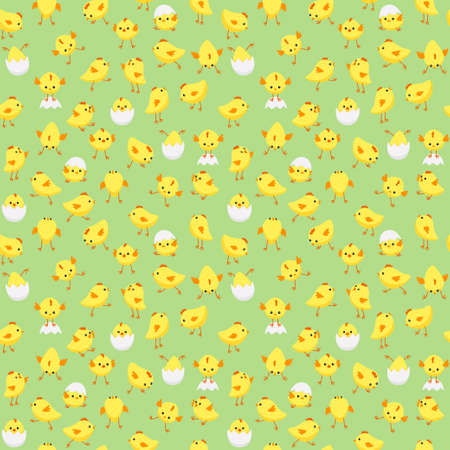 Vector seamless Easter pattern with tiny chicks in various poses on pastel green background