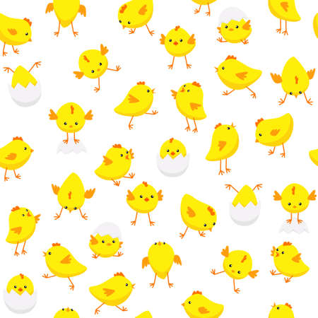 Vector seamless Easter pattern with cute chicks in various poses isolated on white background
