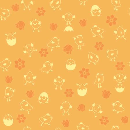 Vector seamless outline Easter pattern with chicks and flowers