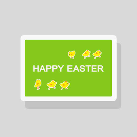 Vector illustration of Happy Easter greeting card with funny little chickens on green background