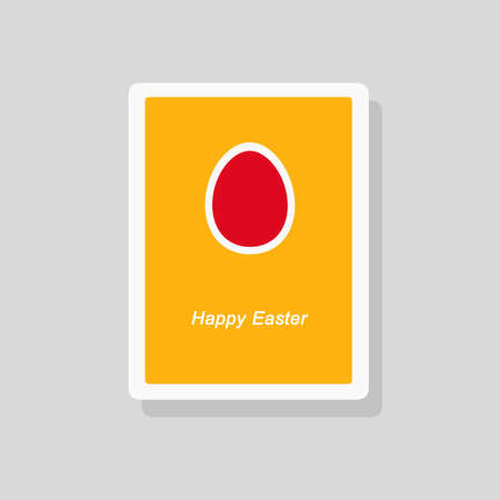 Vector illustration of Happy Easter greeting card with painted egg. Minimalist style Stock Illustratie