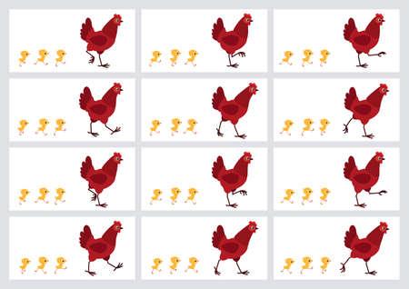 Foglio di sprite di pulcini e gallina rossa ambulante isolato su priorità bassa bianca. Illustrazione vettoriale. Può essere utilizzato per l'animazione GIF