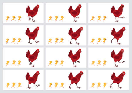 Walking red hen and chicks sprite sheet isolated on white background. Vector illustration. Can be used for GIF animation Illustration