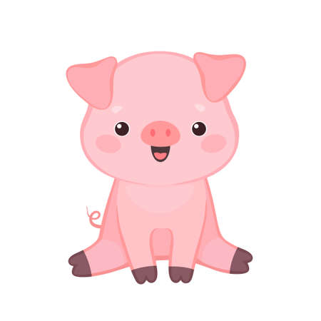 Vector illustration of cute friendly little pig sitting and smiling. Isolated on white background. Can be used for baby shower invitation and greeting cards