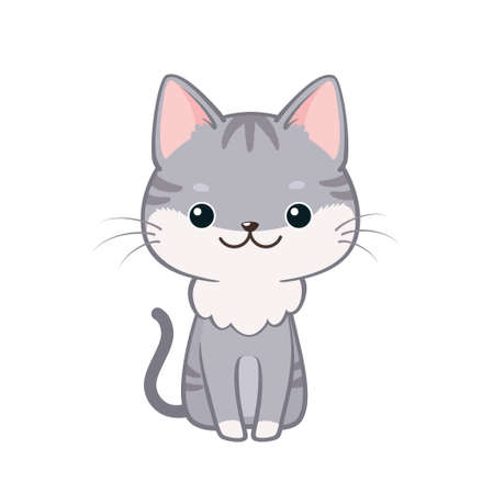 Vector illustration of cute friendly little cat sitting and smiling. Isolated on white background. Can be used for baby shower invitation and greeting cards Ilustração