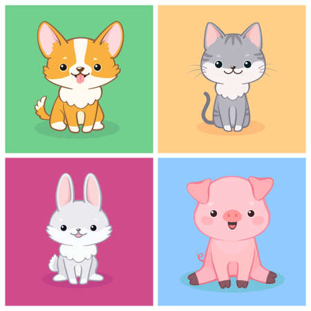 Vector set of cute amusing cartoon dog, piglet, cat and rabbit on colorful background. Can be used for baby shower invitation and greeting cards