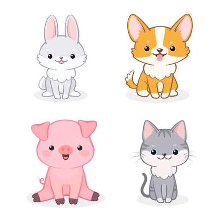 Conjunto de vector de perro, lechón, gato y conejo de dibujos animados alegre lindo. Aislado sobre fondo blanco. Se puede utilizar para invitaciones de baby shower y tarjetas de felicitación.