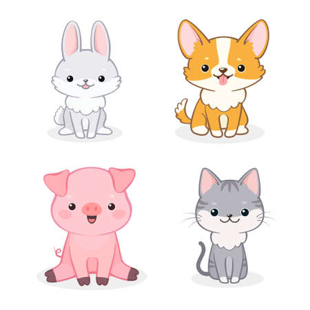 Vector set van schattige vrolijke cartoon hond, big, kat en konijn. Geïsoleerd op een witte achtergrond. Kan worden gebruikt voor uitnodigingen voor babyshowers en wenskaarten