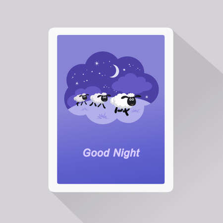 Vector illustration of Good Night card with sheep in a dream bubble