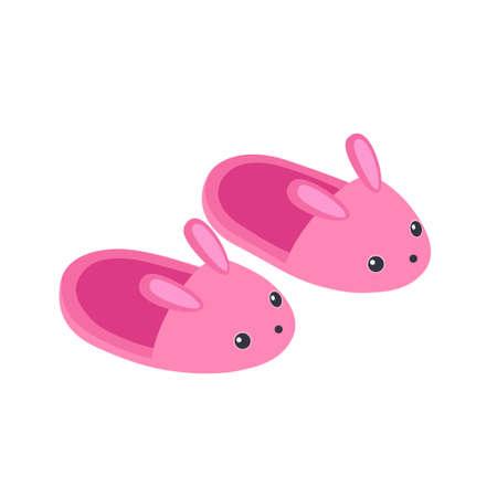 Illustration vectorielle de mignons chaussons de lapin rose isolés sur fond blanc Vecteurs