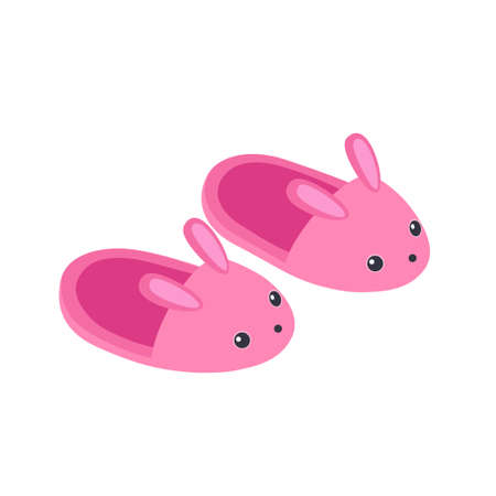 Vector illustration of cute pink bunny slippers isolated on white background