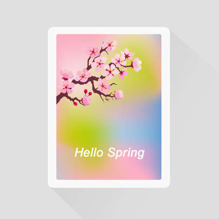 Vector illustration of Hello Spring greeting card with blossoming tree branch Illustration