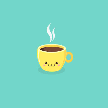Vector illustration of yellow cute kawaii coffee cup on turquoise background