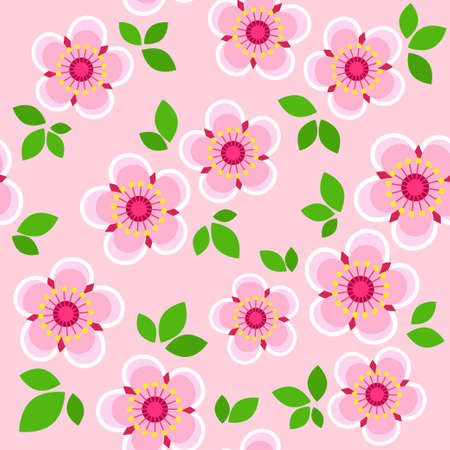 Vector seamless pattern spring pink flowers and leaves Illustration