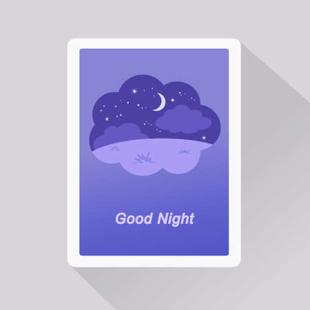 Vector illustration of Good Night card with nightly background in a dream bubble. Minimalist style