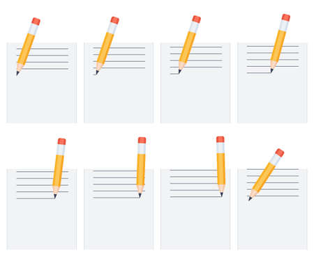 Pencil drawing lines on sheet sprite sheet. Vector illustration isolated on white background. Can be used for GIF animation Illustration