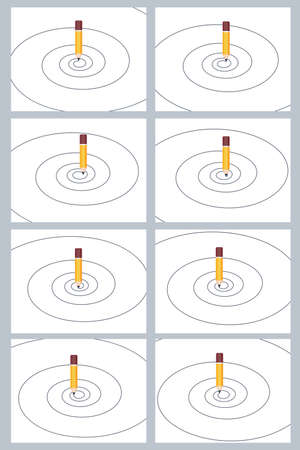 Pencil drawing spiral sprite sheet. Vector illustration isolated on white background. Can be used for GIF animation Stock Illustratie
